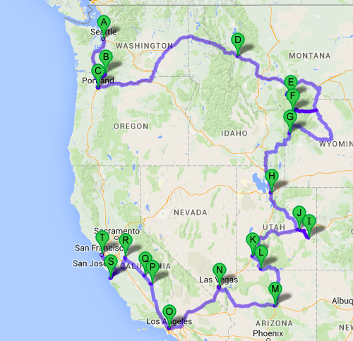 Route roadtrip America