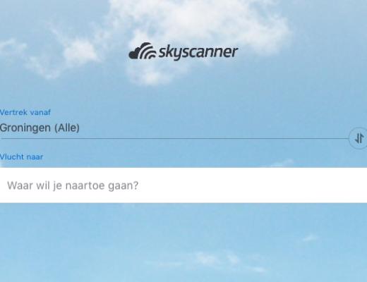 Beginscherm SkyScanner iPad