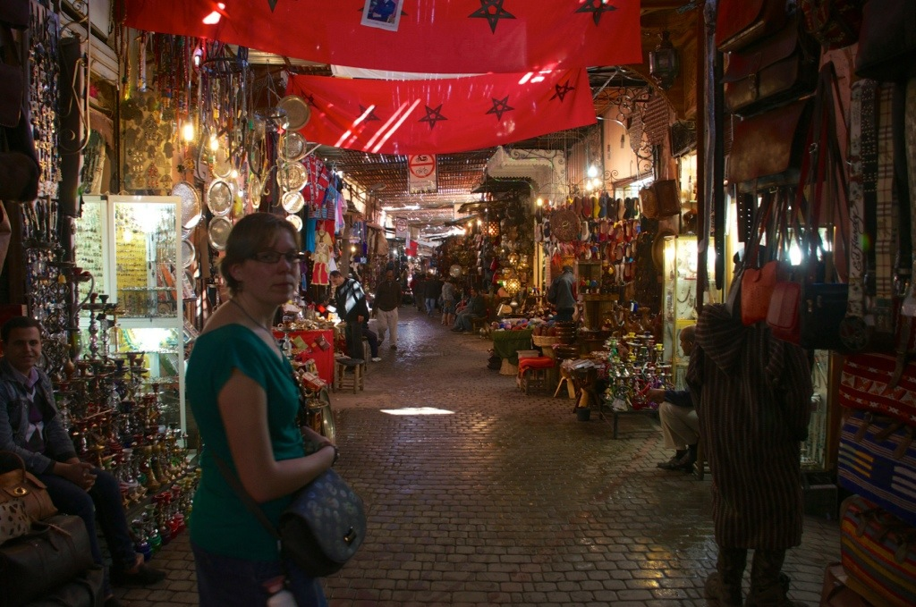 Marcella in de souks in Marrakech
