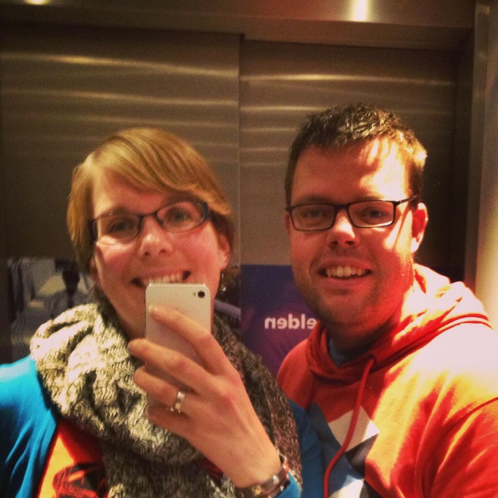 In de lift in Amsterdam