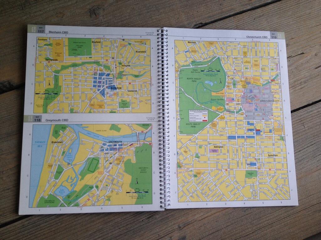Wegenatlas Nieuw-Zeeland, detailkaarten van steden
