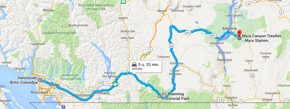 Route Vancouver Kelowna