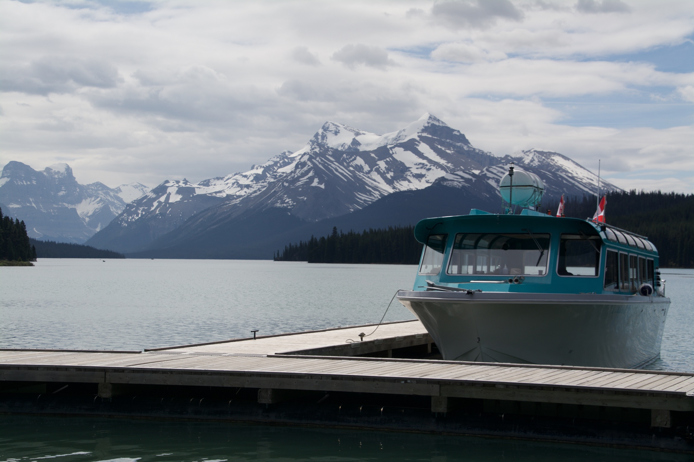 Boat, Maligne Lake, Jasper National Park, Canada