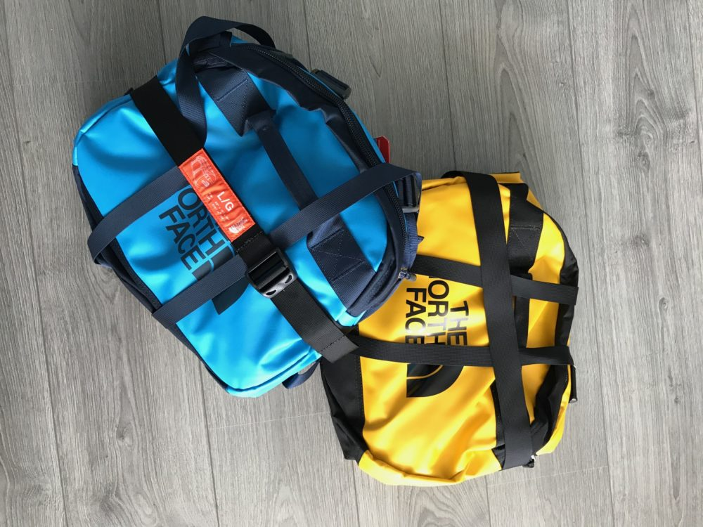 The North Face duffels