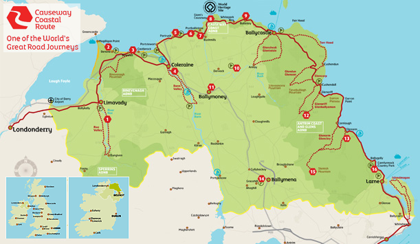 Causeway Coastal Route map