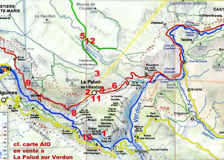 Map Gorge du Verdon France